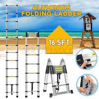 16.5Ft Folding Aluminium Ladder Telescoping Multi-Purpose Extension Ladders 5M