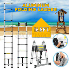 16.5Ft Folding Aluminium Ladder Telescoping Multi-Purpose Extension Ladders 5M