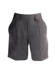Boys Grey School Shorts, Banner Brand, Pleated at front with half elastic waist