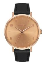 NIXON  - Ladies Arrow Rose Gold Tone Black Leather Watch - A1091 1098