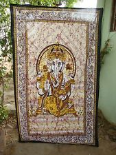 Twin Indian Lord Ganesh Batik Tapestry Hippie Bohemian Wall Hanging Auction