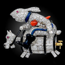 Modern White CZ & Ruby With Black Enamel Cartoon Rabbit Design 925 Silver Brooch