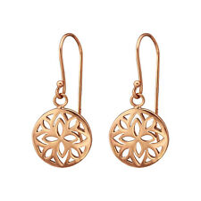 14k Rose Gold on 925 Genuine Sterling Silver circle flower cutout Earrings