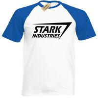 STARK INDUSTRIES MENS T SHIRT BASEBALL MARVEL ARC FILM COMIC SHIELD GEEK