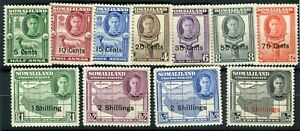 Somaliland Protectorate KGVI 1951 surcharge set of 11 SG125/35 MNH