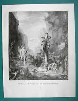 HERCULES Labors Killing 9-headed Hydra - VICTORIAN Era Print