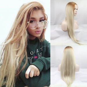 Natural Long Lace Front ombre blonde light celebrity roots Womens Full Hair Wig
