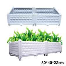 Raised Plastic Garden Bed Planter Box Vegetable Flower Herbs Tray Pot 80x40x22cm