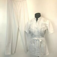 Vintage 1980's White Swan Nurse Uniform size 8 Pintuck Belted Top and Pants P3