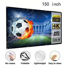 "1x 150"" Portable Projector Screen Fabric Hd Home Indoor Theater Outdoor Cinema"
