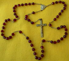 circa 1950 GOLD PLATED LAMINATE and FACETED RED CRYSTAL BEADS  ROSARY * chapelet