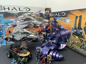 Halo Mega Bloks Covenant Wrath & Phantom & UNSC Broadsword & Flame Warthog Lot