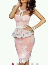 NEW Sexy pink white lace Skirt Peplum Boutique Dress SIze m UK 10-12