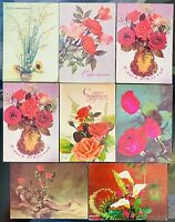 VINTAGE USSR 70s 80s GREETING CARDS POSTCARD SET OF 8 Unposted Collectibles CCCP