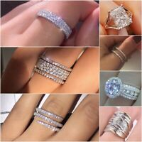 Exquisite Bridal Wedding Jewelry 925 Silver White Sapphire Ring Engagement Gifts