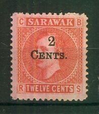 SARAWAK QV SG33, 2c on 12c red/pale rose DOUBLE SURCHARGE, M MINT. Cat UNLISTED.