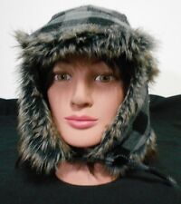 Black Buffalo Plaid Faux Fur Ear Flaps Quilted Lining Trapper Winter Hat Size L