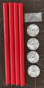 4 used IKEA ADILS LEGS red -AS IS scratches 2 bent plates missing 1 foot leveler