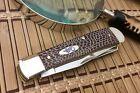 Case XX USA Exquisite Chestnut Bone Amethyst Gold ALLIGATOR SKIN Trapper Knife