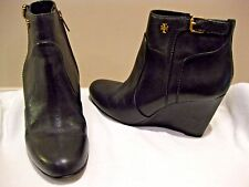 TORY BURCH MILAN LEATHER WEDGE ANKLE BOOTS Sz 6M