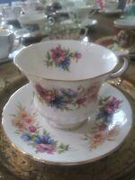 VTG PARAGON Flower Festival Fine Bone Chins Tea Cup & Saucer. EUC.
