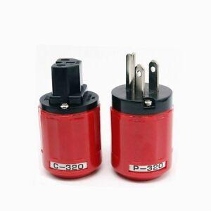 Pair Oyaide P-320/C-320 Pure Copper Rhodium US Power Plug IEC Connector HIFI