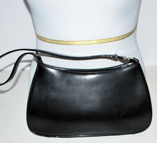 Oroton Black  Leather Small Shoulder Bag Very Fine Quality Zip Top