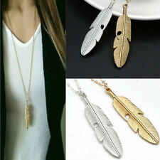 Women Feather Chain Necklace Long Pendant Sweater Statement Vintage Jewelry