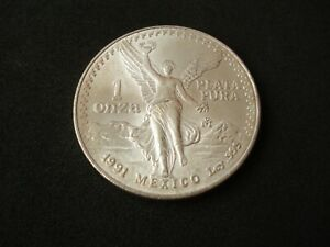 Mexico, 1 onza, 1991, Type 1, Libertad, silver ounce, UNC