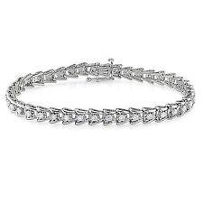 "Sterling Silver Diamond Tennis Bracelet 2 Ct G-H I3 7"""