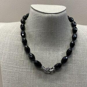 Modern Monet black bead rhinestone necklace
