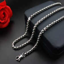 Man Women 316L Stainless Steel 2mm/3mm/4mm/5mm Silver Round Box Chain Necklace