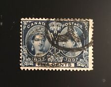 Stamps Canada Sc54  5 cent QV Jubilee issue w fancy cance. Pl see description