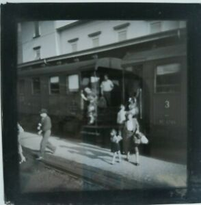Vintage Slide, Train in Station, People Dis-Embarking, Possibly Cadenazzo,