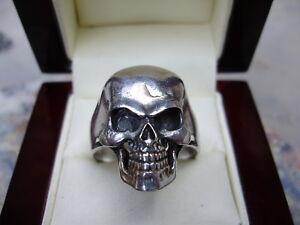 Fully restored solid vintage sterling silver skull ring, sz 12.75