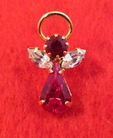 14 KT GOLD EP BIRTHSTONE JULY RUBY ANGEL LAPEL PIN