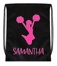 Cinch Backpack Bag Black Cheer Cheerleader Pom Poms Personalized Custom