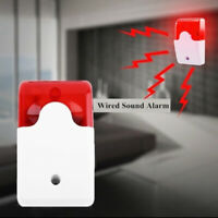 New 12V Mini Wired Sound Alarm Strobe Flashing Light Siren Home Security System-