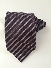 Ermenegildo zegna tie dark purple striped white 100 % silk excellent condition