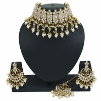 Bollywood Bridal Choker Necklace Set Earring Designer Gold Party Fashion Jewelry