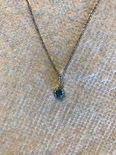 "Blue Topaz and Diamond Pendant, 18"" chain (Borsheims)"