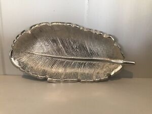 Silver Aluminium Feather Shaped Trinket Dish Jewellery 12.5cm Ladies Gifts