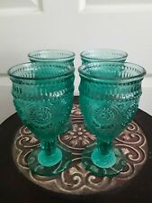 (4) The Pioneer Woman - 12oz. Adeline Goblets in Teal - Set of 4! Rare Set