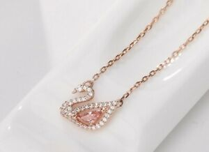 Rose gold over Sterling Silver Pink crystal swan pendant chain necklace Gift E21