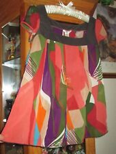 WOMEN'S TOP/BLOUSE STUDIO Y SZ. M SHEER CAP SLEEVE MULTI-COLOR WORN ONCE EXCELL.