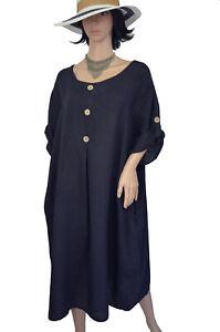 EG 52/54/56/58 Kleid Leinenkleid Sommerkleid Kurzarmkleid Dunkelblau   ITALIEN