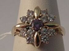 21G LADIES 9CT GOLD AMETHYST AND ZIRCONIA CLUSTER RING SIZE J 1/2