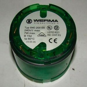 1pc. Werma Signaltechnik 840 200 00 Incandescent Green Signal Tower Light, Used
