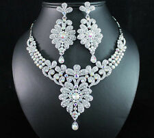 SPARKLE AB WHITE AUSTRIAN RHINESTONE CRYSTAL NECKLACE EARRINGS SET BRIDAL N1694
