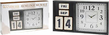Large Wooden Wall Clock Distressed Shabby Chic Wall Clock and Perpetual Calendar